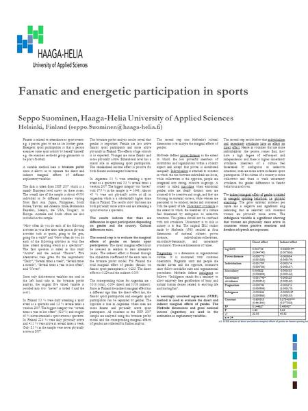 Fanatic and energetic participation in sports Seppo Suominen, Haaga-Helia University of Applied Sciences Helsinki, Finland