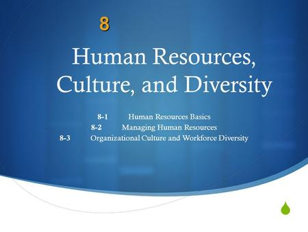 Human Resources, Culture, and Diversity