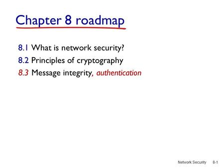 8-1Network Security Chapter 8 roadmap 8.1 What is network security? 8.2 Principles of cryptography 8.3 Message integrity, authentication.