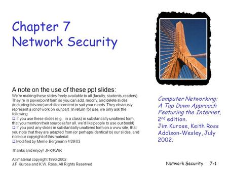 Network Security7-1 Chapter 7 Network Security Computer Networking: A Top Down Approach Featuring the Internet, 2 nd edition. Jim Kurose, Keith Ross Addison-Wesley,