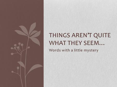 Words with a little mystery THINGS AREN'T QUITE WHAT THEY SEEM…