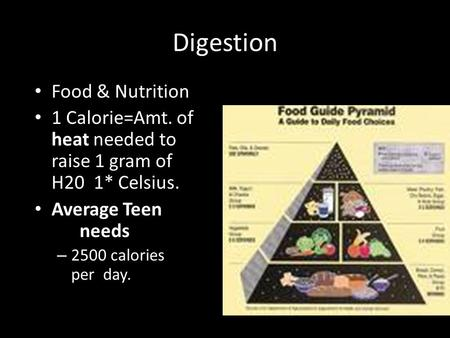Digestion Food & Nutrition 1 Calorie=Amt. of heat needed to raise 1 gram of H20 1* Celsius. Average Teen needs – 2500 calories per day.