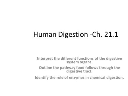 Human Digestion -Ch. 21.1 Section Objectives: Interpret the different functions of the digestive system organs. Outline the pathway food follows through.
