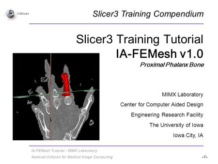 Slicer3 Training Tutorial IA-FEMesh v1.0