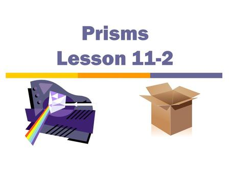 Prisms Lesson 11-2 2 Truths and a fib! 1. A cylinder is not a polyhedron. 3. A square pyramid has 5 faces. 2. A cuboid is a type of pyramid.