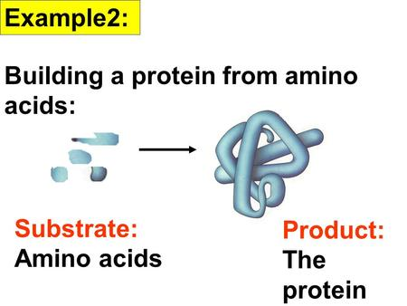 Example2: Building a protein from amino acids: Substrate: Amino acids Product: The protein.