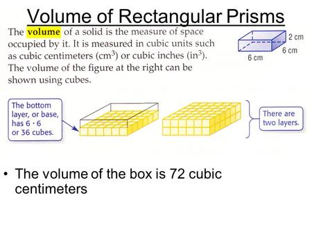 The volume of the box is 72 cubic centimeters Volume of Rectangular Prisms.