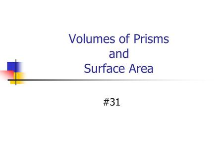 Volumes of Prisms and Surface Area #31. Vocabulary Volume is the number of cubic units needed to fill a space. V = lwh Ex:Volume is expressed in cubic.