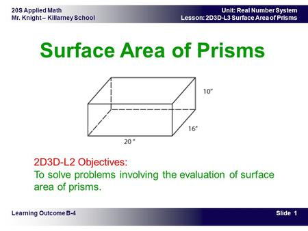 20S Applied Math Mr. Knight – Killarney School Slide 1 Unit: Real Number System Lesson: 2D3D-L3 Surface Area of Prisms Surface Area of Prisms Learning.