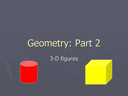 Geometry: Part 2 3-D figures. Polyhedron ► 3-dimensional analog of a polygon ► Closed surface made up of polygons ► Any 2 polygons may have only one shared.
