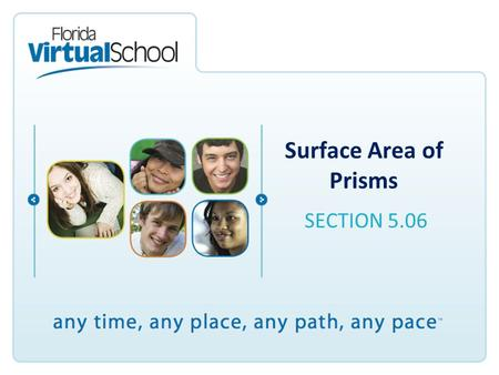 Surface Area of Prisms SECTION 5.06. After completing this lesson, you will be able to say: I can represent three-dimensional figures using nets made.