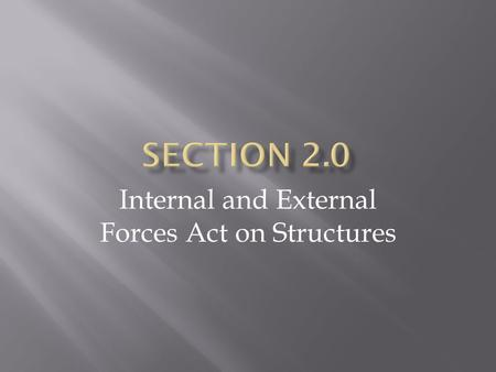 Internal and External Forces Act on Structures.  A force is a push or pull that causes an object to change its movement or shape.