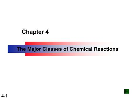 Copyright ©The McGraw-Hill Companies, Inc. Permission required for reproduction or display. 4-1 Chapter 4 The Major Classes of Chemical Reactions.