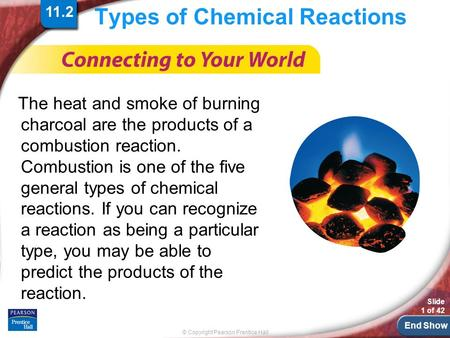 End Show © Copyright Pearson Prentice Hall Slide 1 of 42 Types of Chemical Reactions The heat and smoke of burning charcoal are the products of a combustion.