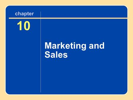 Author name here for Edited books chapter 10 Marketing and Sales 10 Marketing and Sales chapter.