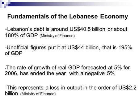 Fundamentals of the Lebanese Economy - Lebanon's debt is around US$40.5 billion or about 180% of GDP (Ministry of Finance) -Unofficial figures put it at.