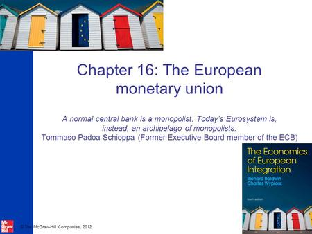 © The McGraw-Hill Companies, 2012 Chapter 16: The European monetary union A normal central bank is a monopolist. Today's Eurosystem is, instead, an archipelago.