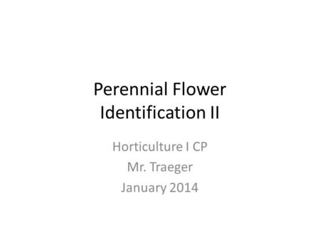 Perennial Flower Identification II Horticulture I CP Mr. Traeger January 2014.