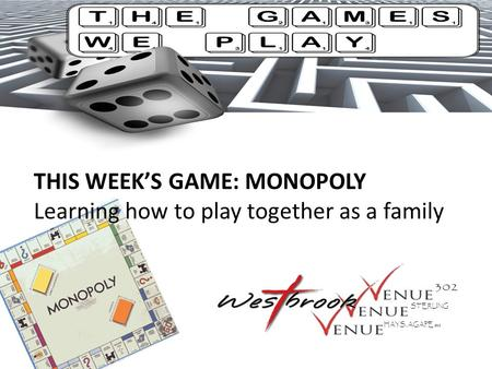 THIS WEEK'S GAME: MONOPOLY Learning how to play together as a family STERLING HAYS, AGAPE SBC.