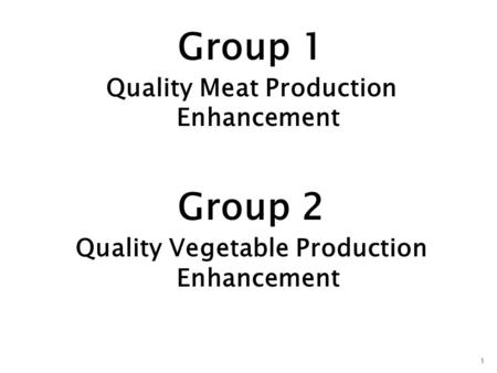 Group 1 Quality Meat Production Enhancement Group 2 Quality Vegetable Production Enhancement 1.