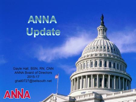 Gayle Hall, BSN, RN, CNN ANNA Board of Directors 2015-17