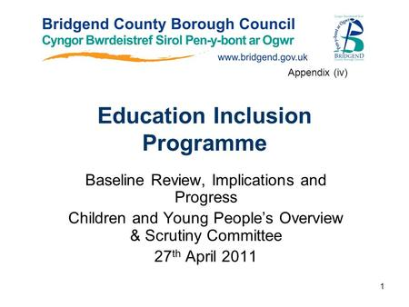 1 Education Inclusion Programme Baseline Review, Implications and Progress Children and Young People's Overview & Scrutiny Committee 27 th April 2011 Appendix.