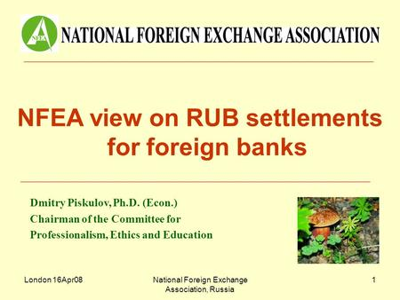 London 16Apr08National Foreign Exchange Association, Russia 1 NFEA view on RUB settlements for foreign banks Dmitry Piskulov, Ph.D. (Econ.) Chairman of.