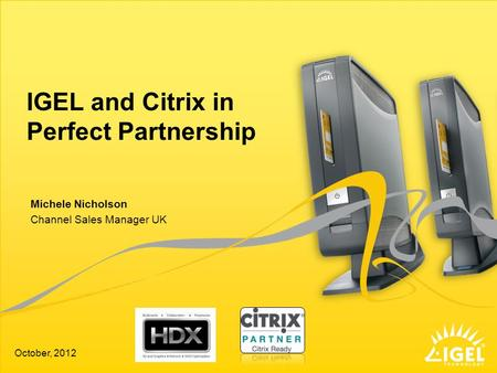 IGEL and Citrix in Perfect Partnership Channel Sales Manager UK October, 2012 Michele Nicholson.