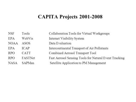 CAPITA Projects 2001-2008 NSF ToolsCollaboration Tools for Virtual Workgroups EPA WebVis Internet Visibility System NOAAASOS Data Evaluation EPAICAP Intercontinental.