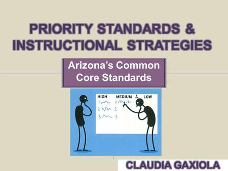 Arizona's Common Core Standards 1.  Identify Priority Standards to prepare students for college and careers.  Incorporate research-based instructional.