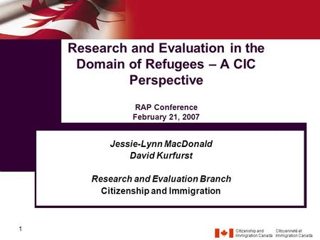 Citizenship and Immigration Canada Citoyenneté et Immigration Canada 1 Research and Evaluation in the Domain of Refugees – A CIC Perspective RAP Conference.