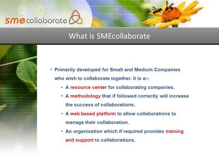What is SMEcollaborate Primarily developed for Small and Medium Companies who wish to collaborate together. It is a:- A resource center for collaborating.