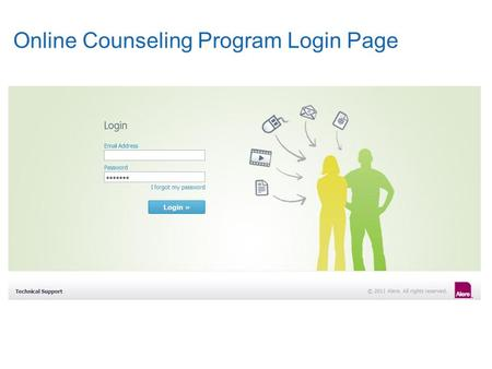 Online Counseling Program Login Page. English Homepage.