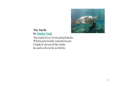 1 The Turtle by Ogden Nash Ogden Nash The turtle lives 'twixt plated decks Which practically conceal its sex. I think it clever of the turtle In such a.