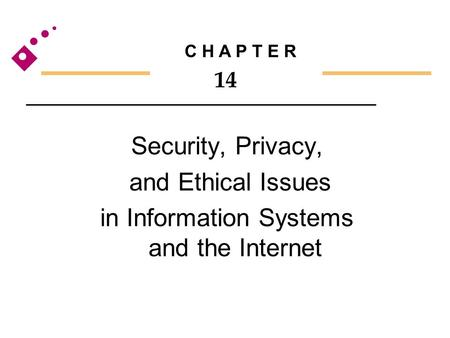 Security, Privacy, and Ethical Issues in Information Systems and the Internet C H A P T E R 14.