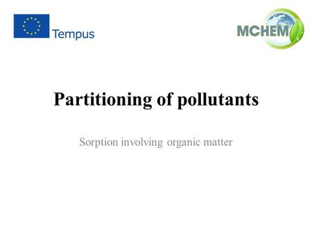 Partitioning of pollutants
