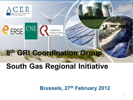 1 Brussels, 27 th February 2012 8 th GRI Coordination Group South Gas Regional Initiative.