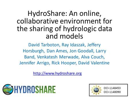 HydroShare: An online, collaborative environment for the sharing of hydrologic data and models David Tarboton, Ray Idaszak, Jeffery Horsburgh, Dan Ames,