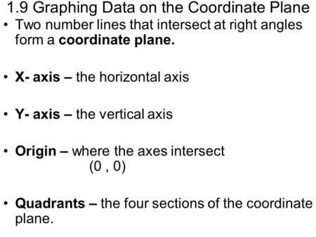 1.9 Graphing Data on the Coordinate Plane Two number lines that intersect at right angles form a coordinate plane. X- axis – the horizontal axis Y- axis.