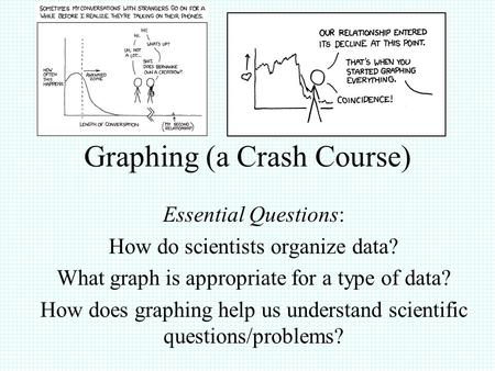Graphing (a Crash Course) Essential Questions: How do scientists organize data? What graph is appropriate for a type of data? How does graphing help us.