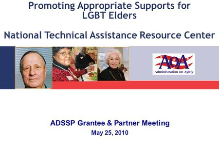 Promoting Appropriate Supports for LGBT Elders National Technical Assistance Resource Center ADSSP Grantee & Partner Meeting May 25, 2010.