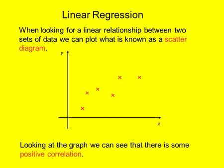 Linear Regression When looking for a linear relationship between two sets of data we can plot what is known as a scatter diagram. x y Looking at the graph.
