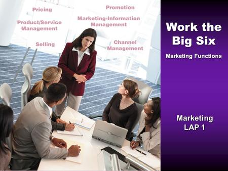 Work the Big Six Marketing Functions Marketing LAP 1.
