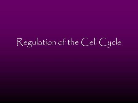 Regulation of the Cell Cycle. Molecular Control System Normal growth, development and maintenance depend on the timing and rate of mitosis Cell-cycle.
