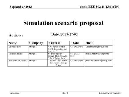 Doc.: IEEE 802.11-13/1153r0 Submission September 2013 Laurent Cariou (Orange)Slide 1 Simulation scenario proposal Date: 2013-17-09 Authors: