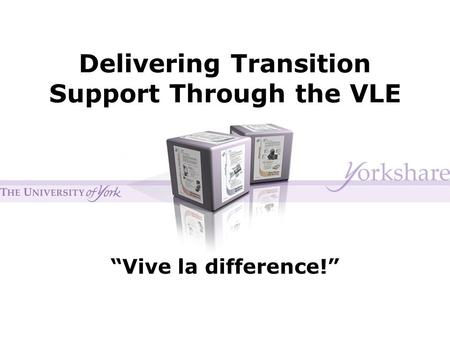 "Delivering Transition Support Through the VLE ""Vive la difference!"""