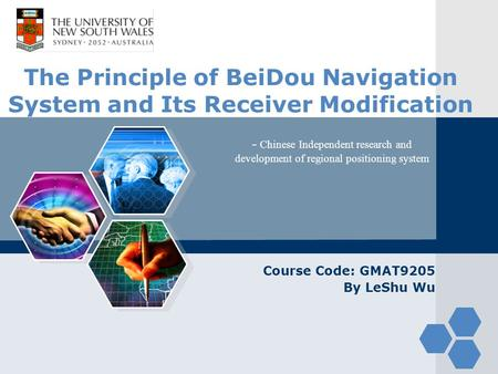 LOGO The Principle of BeiDou Navigation System and Its Receiver Modification Course Code: GMAT9205 By LeShu Wu - Chinese Independent research and development.