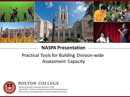 NASPA Presentation Practical Tools for Building Division-wide Assessment Capacity Adrienne Dumpe, Graduate Assistant, VPSA Katie O'Dair, Director of Assessment.