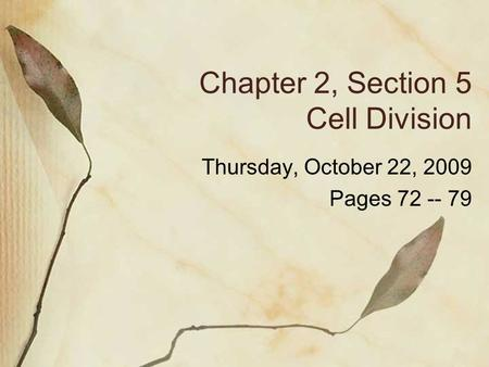 Chapter 2, Section 5 Cell Division Thursday, October 22, 2009 Pages 72 -- 79.
