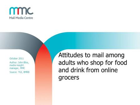 Attitudes to mail among adults who shop for food and drink from online grocers October 2011 Author: John Bliss, media insight manager, MMC Source: TGI,